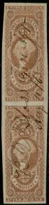 #R49a 25¢ PROTEST IMPERF PAIR VF+ USED CV $200.00 BP8475