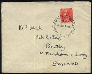 NEW ZEALAND 1935 cover MARINE PO RMS MAUNGANUI cds.........................96116