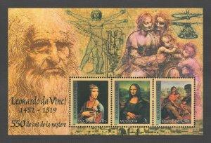 Moldova MNH S/S Mona Lisa 550th Anniversary Leonarda da Vinci 2002