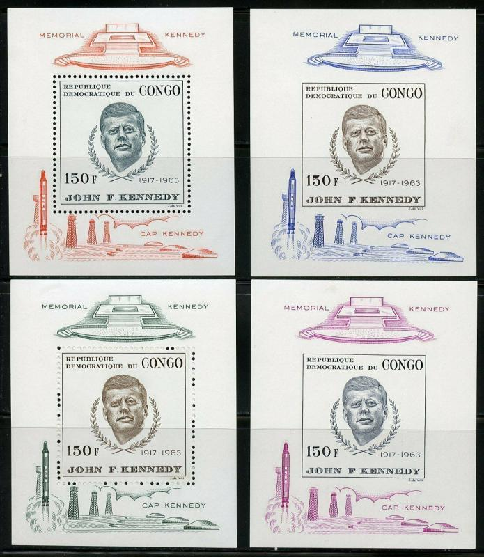 CONGO JOHN F. KENNEDY PERF AND IMPERF SOUVENIR SHEETS MINT NEVER HINGED