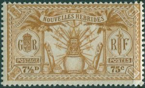 New Hebrides French 1925 SGF49 75c 7½d yellow-brown Weapons Idols MNH