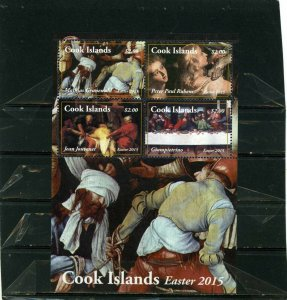 COOK ISLANDS 2015 EASTER PAINTINGS SHEET OF 4 STAMPS MNH
