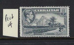 GIBRALTAR SCOTT #110A 1938-49 GEORGE VI- 2D (GRAY)-  PERF 14  - MINT XXXLH