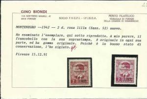 MONTENEGRO 1942 GOVERNATORATO SOPRASTAMPA ROSSA RED OVERPRINTED 2 D MH CERTIF...