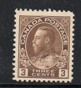Canada Sc 108 1918 3c brown G V Admiral issue stamp mint NH