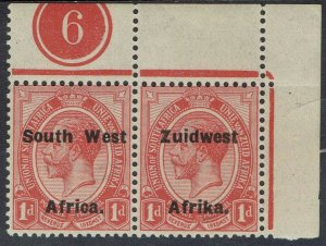 SOUTH WEST AFRICA 1923 KGV 1D PLATE 6 PAIR MNH ** SETTING VI