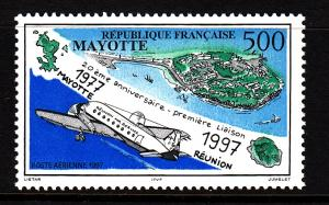 Mayotte MNH Scott #C2 5fr 20th anniversary First Mayotte-Reunion Flight