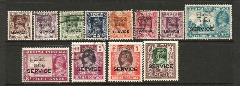 BURMA 1947  KGVI  OFFICIALS  SET TO 5r  M&U  SGO41/52