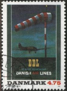 DENMARK  Scott 949 Danish Airline stamp Corner Canceled