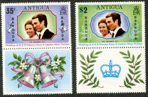 BARBUDA Sc#103-104 SG#102-103 1973 Princess Anne Wedding Complete OG Mint NH