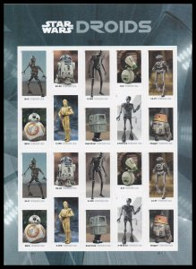 US 5573-5582 5582a Star Wars Droids forever sheet (20 stamps) MNH 2021