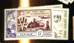 FRENCH EQUATORIAL AFRICA C38 C42-3 MINT VF OG NH Cat $22
