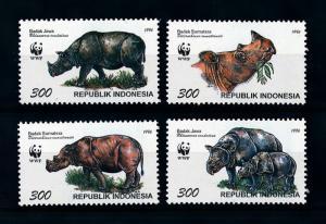 [79143] Indonesia 1996 Wild Life Mammals Rhinoceros WWF  MNH
