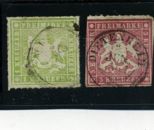 Wurttemberg 1866-68 - Scott # 41-42 - Used