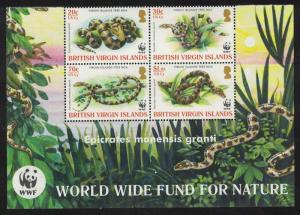 BVI WWF Virgin Islands Boa 4v Block of 4 WWF Logo SG#1178-1181 SC#1051-1054