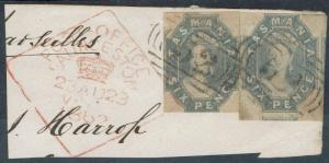 TASMANIA 1860 QV CHALON 6D IMPERF - 2 USED ON PIECE