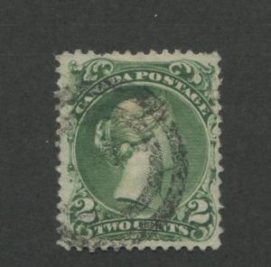 1868 Canada Stamp #24 2c Used F/VF Near Full Postal Cancel