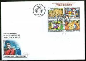 BURUNDI 2013 40th MEMORIAL ANNIVERSARY OF PABLO PICASSO  SHEET FDC