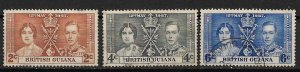 1937 British Guiana 227-9 Coronation C/S used