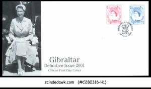 GIBRALTAR - 2001 DEFINITIVE ISSUE / QEII - 2V - FDC
