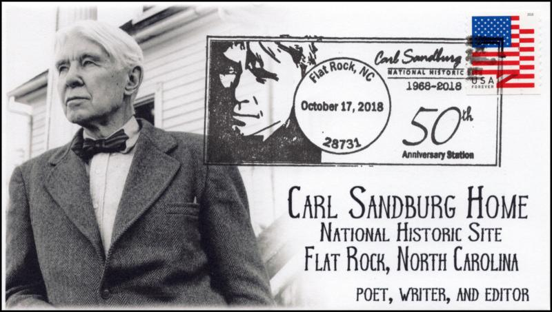18-318, 2018, Carl Sandburg Home, Pictorial, Postmark, Event Cover, Flat Rock NC