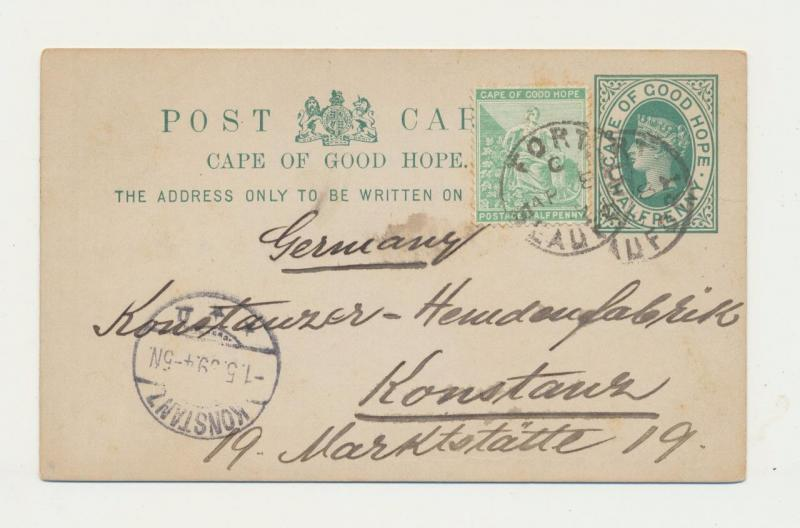 CAPE OF GOOD HOPE TO GERMANY 1899, FORT BEAUFORT TO KONSTANZ, ½d CARD+½d ADDED