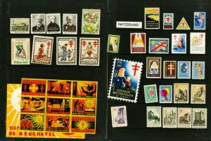 Switzerland Stamps 40x Diff Old Time Labels 1940's