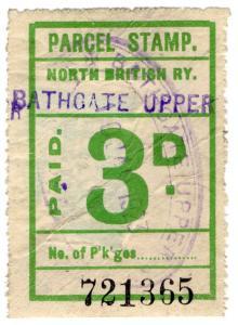 (I.B) North British Railway : Parcel Stamp 3d (Bathgate Upper)