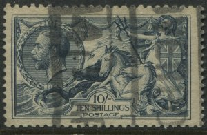 GB KGV 1918 Bradbury 10/ Seahorse dull grey blue with parcel cancel  (40)