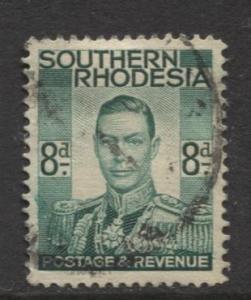 Southern Rhodesia- Scott 47 - KGVI - Definitive -1937 -FU- Single 8d Stamp