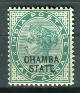 INDIA CHAMBA; 1887-95 classic QV Optd. issue Mint hinged Shade of 1/2a. value