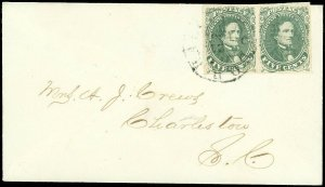 1862, CSA Confederate #1c (Olive Green) VF Pair on XF Cover, PF CERT DK-10-20-21