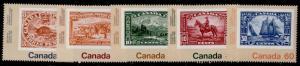 Canada 909-13 MNH Stamp on Stamp, Ship, Horse, Beaver, Ship, Mount Hurd