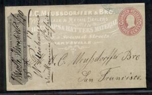 1870 3¢ envelope tied MARYSVILLE w/all-over advertising J.C. MEUSSDORFFER HATS