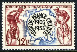 France 693, MNH. Bicycle Tour de France, 50th anniv. Map, 1953
