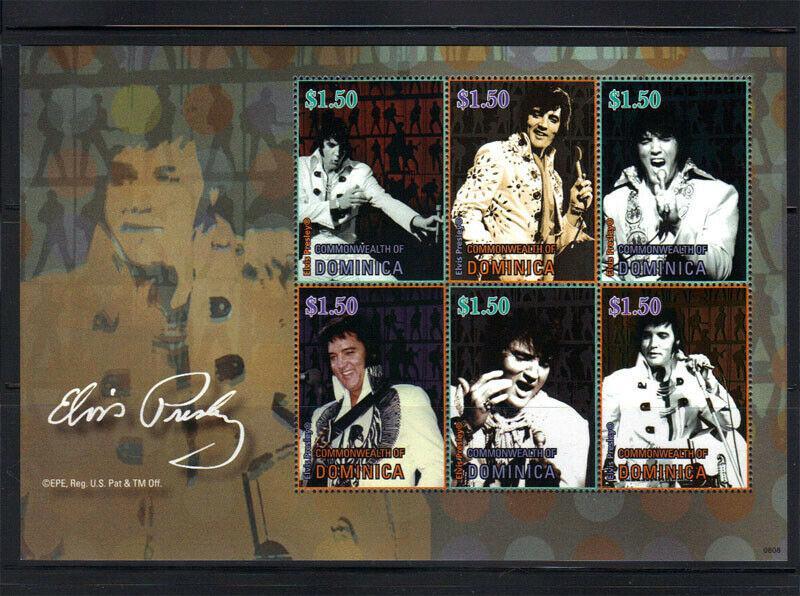 Dominica – Singer Elvis Presley - Rock & Roll - 6 Stamp Sheet 4C-020