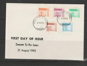 Zimbabwe 1985 Postage Dues on FDC, Unaddressed, SG D28/32