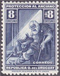 Uruguay # B4 mnh ~ 8¢ + 8¢ Indigent Old Man