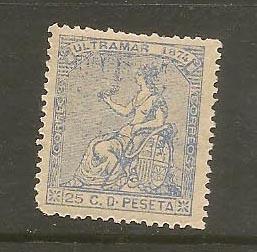 CUBA STAMP VFU 25 C. D PESETA ULTRAMAR 1874 #CCA12