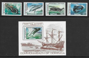Dominica  791 - 795 (SG 839/43) Save the Whales  - S/S - MNH - VF - CV$19.75