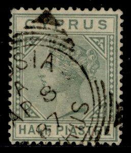CYPRUS QV SG16a, ½pi dull green, FINE USED. CDS
