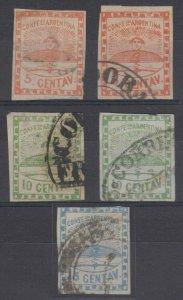 ARGENTINA 1858 CONFEDERATION Sc 1-3 (5x) FULL SET USED CORDOBA+ CANCELS SCV$510