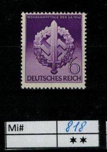 Deutschland Reich TR02 DR Mi 818 1939 Reich Postfrisch ** MNH