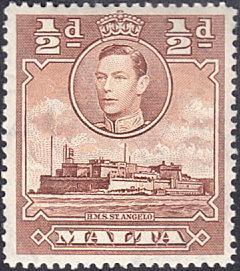 Malta # 192A mnh ~ 1/2p Fort St. Angelo, brown