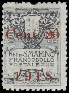 San Marino Scott 80 (1918) Mint H F-VF, CV $6.00