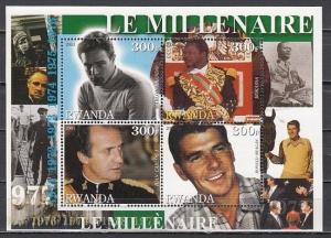 Rwanda, 2001 Cinderella issue. 70`s sheet. M. Brando, R. Reagan, Politicians.