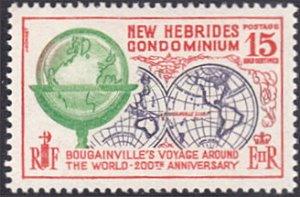 New Hebrides - British # 127 mnh ~ 15¢ Globe, World Map