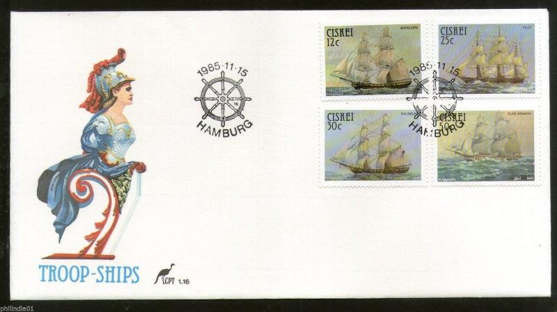 Ciskei 1985 Troop Sailing Ships Transport Sc 85-88 FDC # 16470