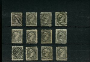 12 x 5 cent Small Queen lot Canada used