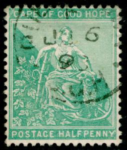 SOUTH AFRICA - Cape of Good Hope SG61, ½d yellow-green, FINE USED, CDS.